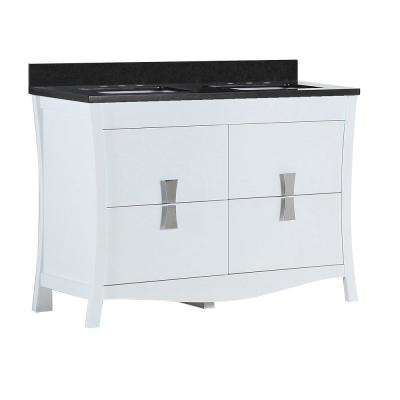 Tracy 48 in. W x 19 in. D x 34 in. H Double Vanity in White with Granite Vanity Top in Black Galaxy with White Basins