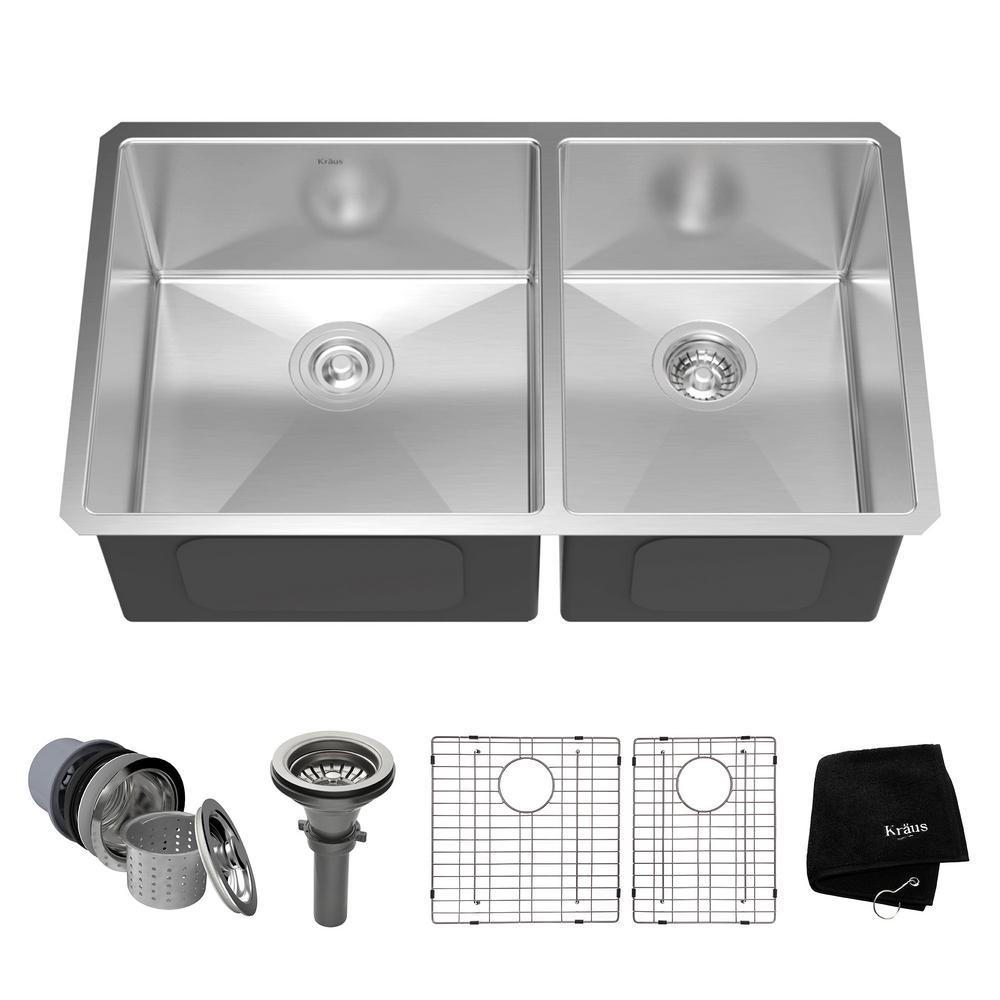 Medium image of kraus undermount stainless steel 33 in  60 40 double bowl kitchen sink kit khu103 33   the home depot