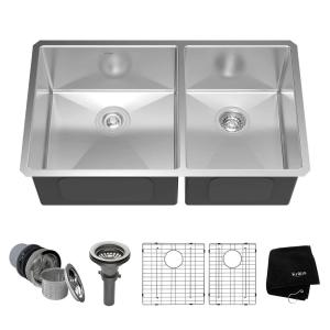 KRAUS Undermount Stainless Steel 33 in. 60/40 Double Bowl Kitchen ...