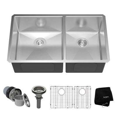 Undermount Stainless Steel 33 in. 60/40 Double Bowl Kitchen Sink Kit