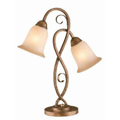 Designer Collection 22.5 in. Bronze Table Lamp with Amber Glass Shade