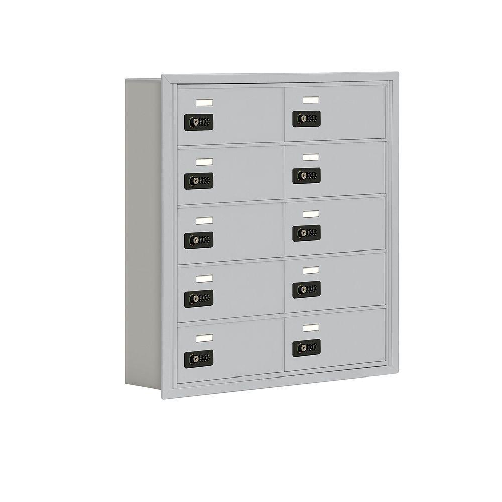 Salsbury Industries 19000 Series 30.5 in. W x 31 in. H x 5.75 in. D 10 B Doors R-Mount Resettable Locks Cell Phone Locker in Aluminum