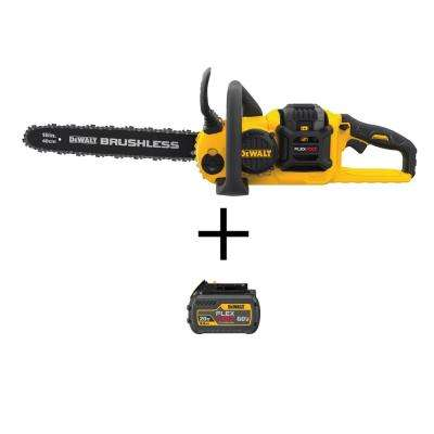 FLEXVOLT 16 in. 60-Volt MAX Li-Ion Brushless Electric Cordless Chainsaw w/3Ah Battery and Charger and Bonus 2Ah Pack