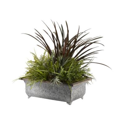 Indoor Areca Grass, Staghorn and Maiden Hair Ferns, with Wild Grass and Asparagus in Rectangle Metal Planter