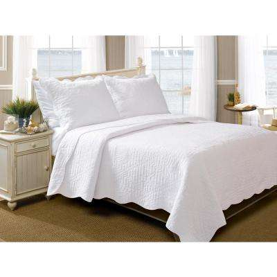 La Jolla 3-Piece White Full and Queen Quilt Set