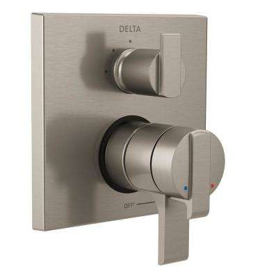 Ara Modern 2-Handle Wall-Mount Valve Trim Kit with 3-Setting Integrated Diverter in Stainless (Valve Not Included)