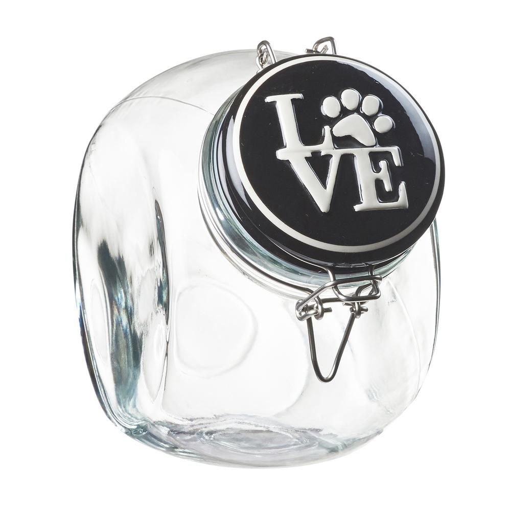 Love Space Saver 72 oz. Glass Black Lid Hermetic Treats Canister
