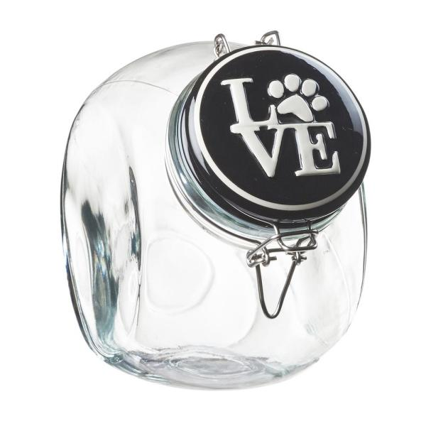 Amici Home Love Space Saver 72 oz. Glass Black Lid Hermetic Treats Canister