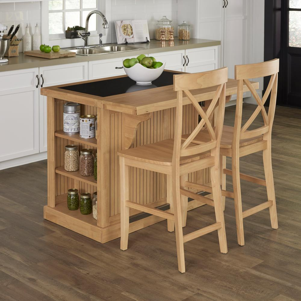 Charming Nantucket Maple Kitchen Island With Seating