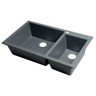 Drop -In Granite Composite 33.88 in. 1-Hole 35/65 Double Bowl Kitchen Sink in Titanium