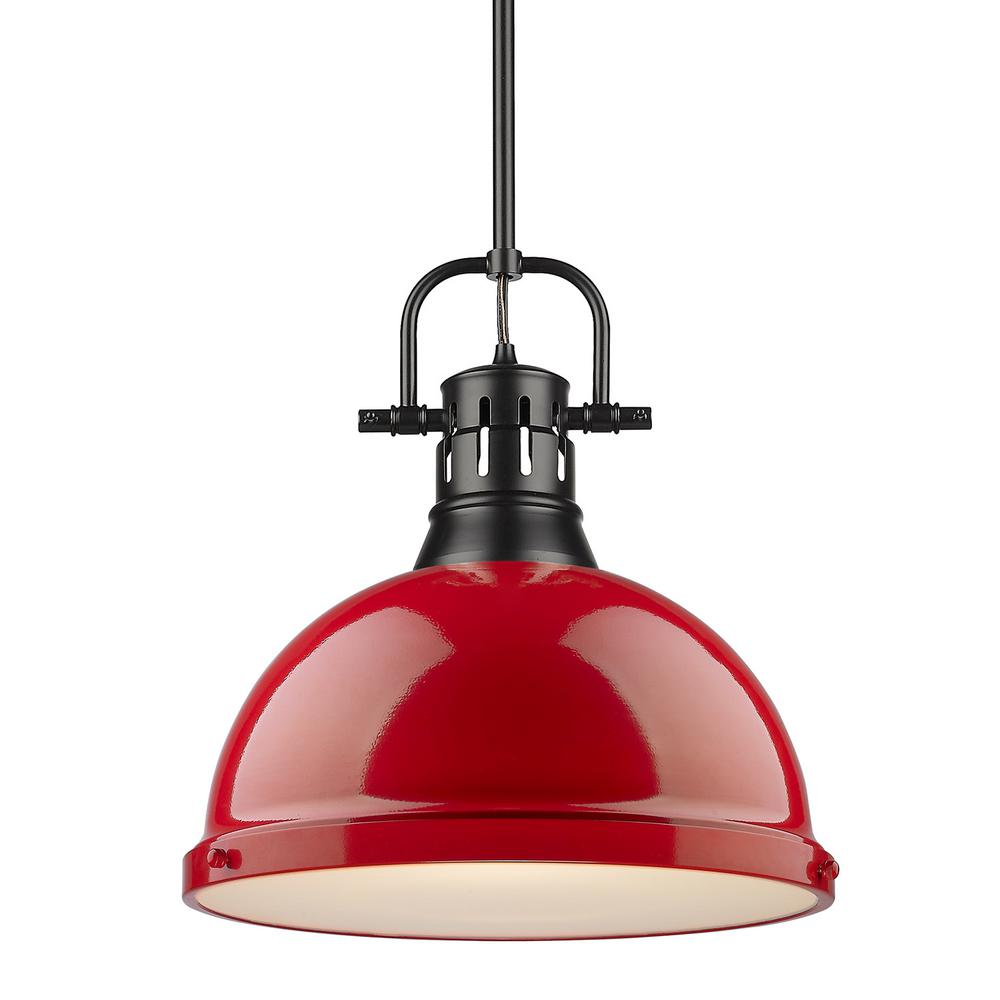 Golden Lighting Duncan 1-Light Black Pendant and Rod with Red Shade