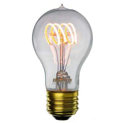 40W Equivalent Amber Light A19 Dimmable LED Curved Filament Nostalgic Light Bulb (2-Pack)