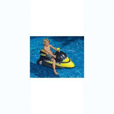 51 in. Black/Yellow LaserShark Wet-Ski Squirter Pool Float with Attached Squirt Gun