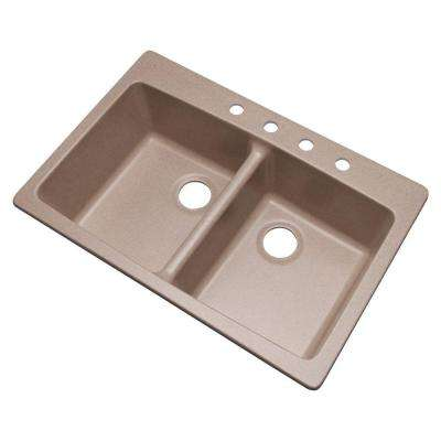 Waterbrook Dual Mount Composite Granite 33 in. 4-Hole Double Bowl Kitchen Sink in Desert Sand