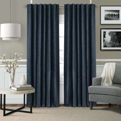 Elrene Leila SingleBlackout Window Curtain Panel in Navy - 52 in. W x 108 in. L
