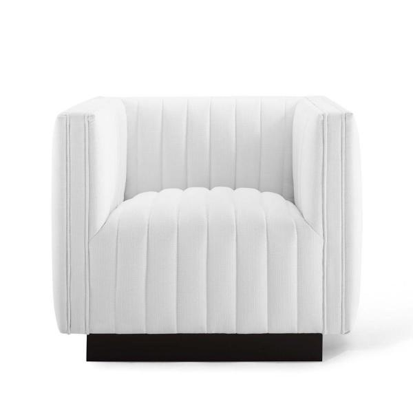 Perception White Tufted Upholstered Fabric Armchair