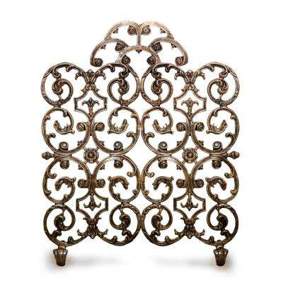 Avalon Bronze 2-Panel 30 in. W Fireplace Screen with Arch