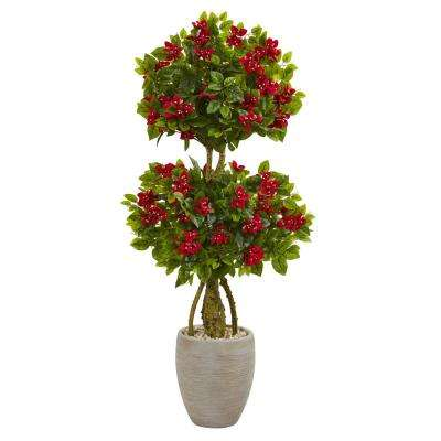 4.5 ft. High Indoor/Outdoor Double Bougainvillea Topiary Artificial Tree in Oval Planter
