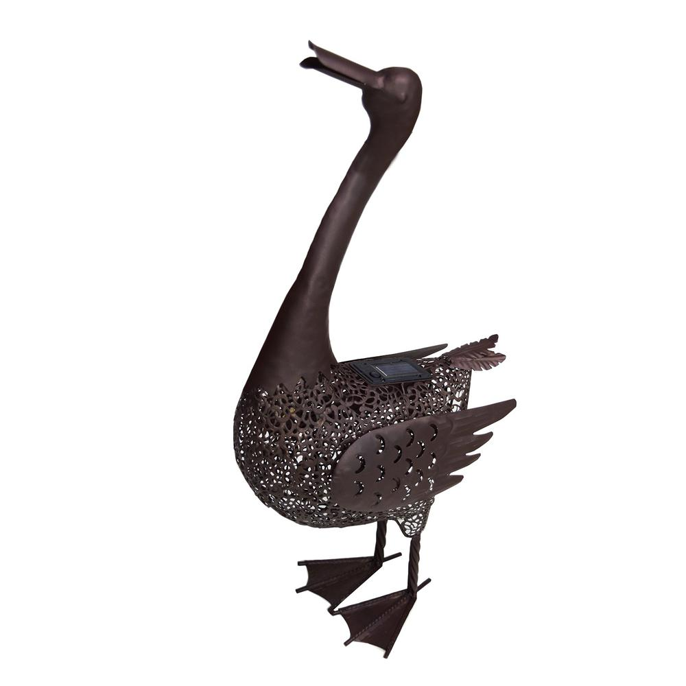 25 in. Steel Indoor/Outdoor Animal Garden Duck Metal Sculpture Statue with