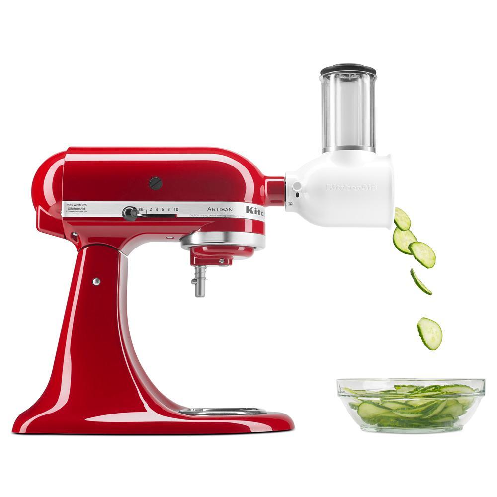 White Fresh Prep Slicer and Shredder Attachment for Kitchen Stand Mixer