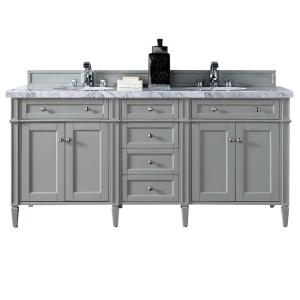 James Martin Signature Vanities Brittany 72 inch W Double Vanity in Urban Gray with Marble Vanity Top in Carrara White... by James Martin Signature Vanities