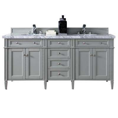 Brittany 72 in. W Double Vanity in Urban Gray with Marble Vanity Top in Carrara White with White Basin