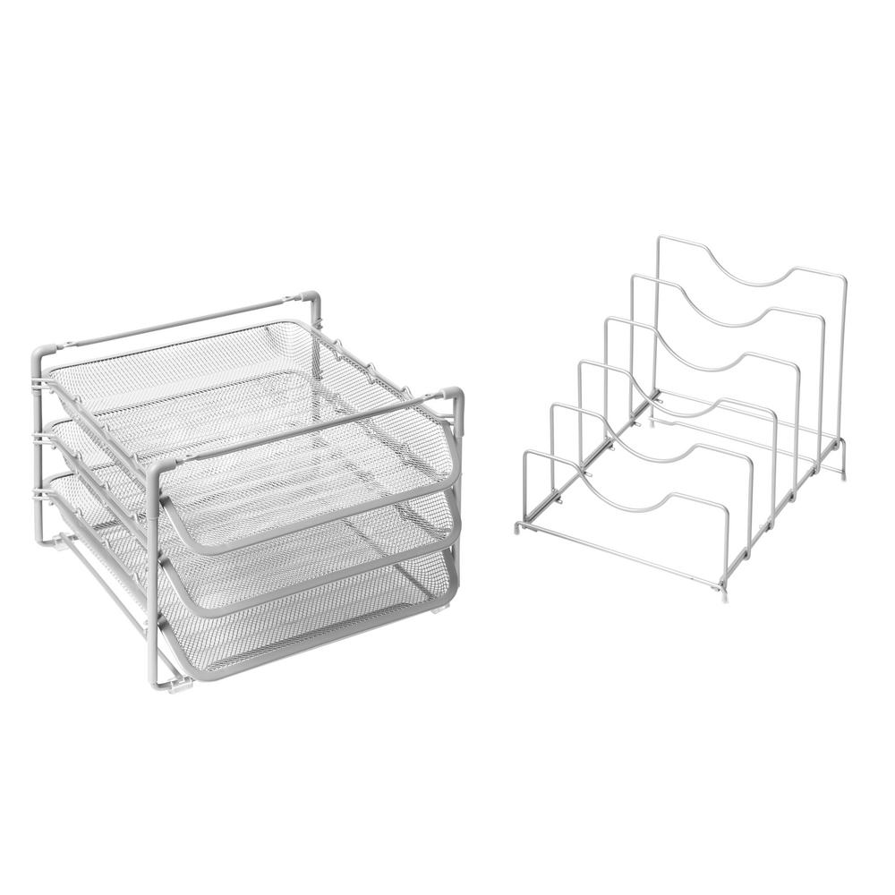 Seville Classics Letter File Size 3 Tier Stackable Desktop Tray Organizer Silver
