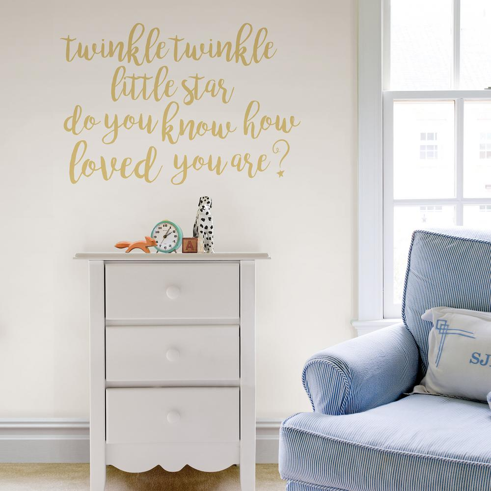28ca094dc8105 Neutral Twinkle Little Star Wall Quote Decal