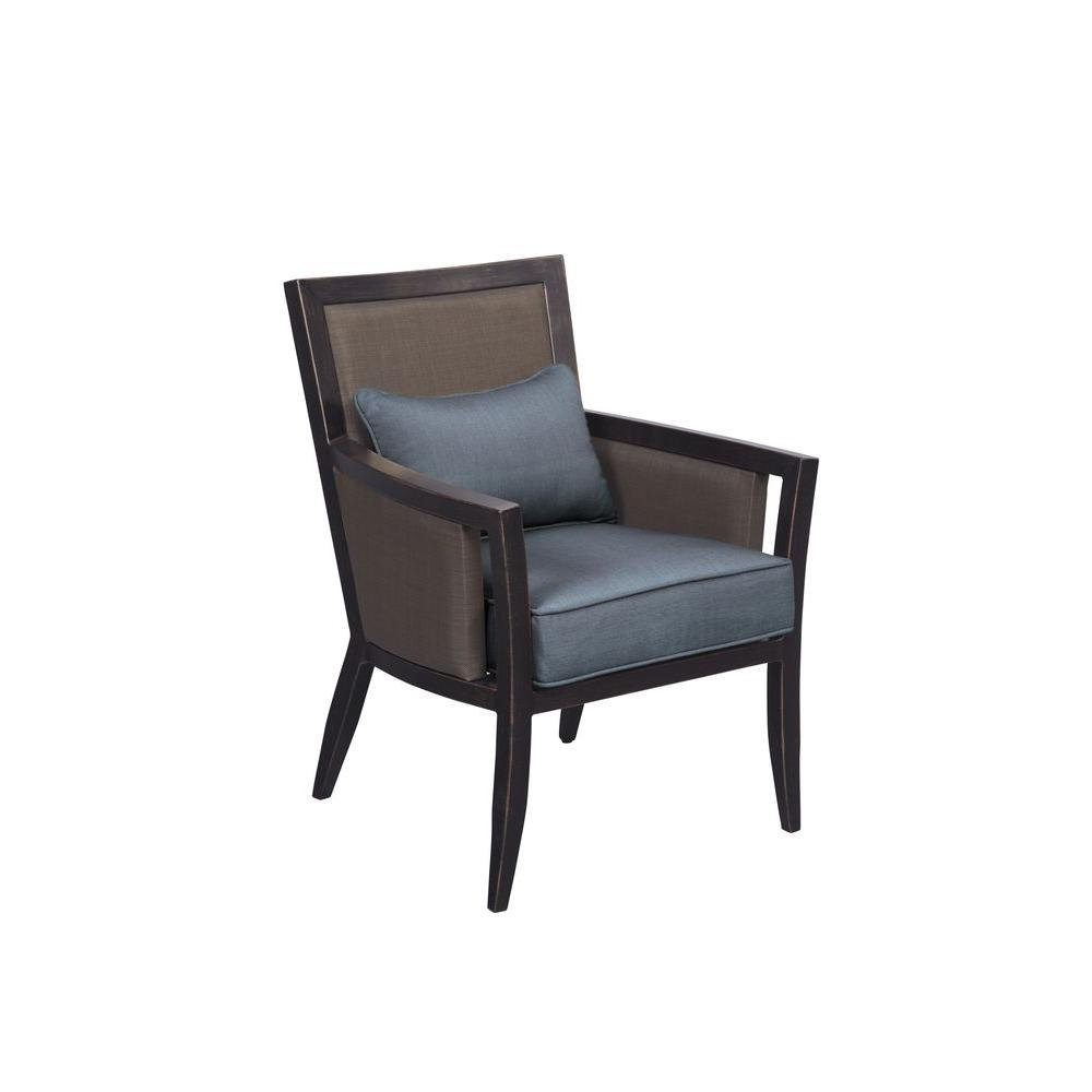 Brown Jordan Greystone Patio Dining Chair With Denim