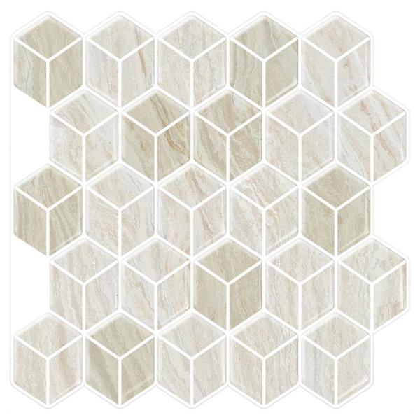Tic Tac Tiles Cube Sabbia 10 in. W x 10 in. H Beige Peel and Stick Decorative Mosaic Wall Tile Backsplash (6-Tiles)