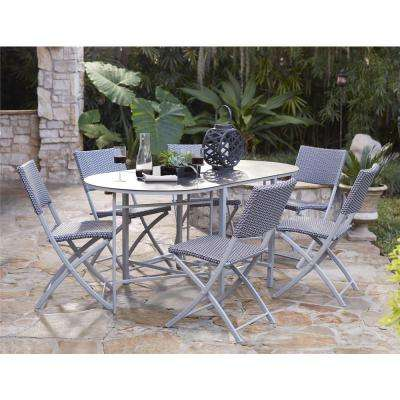 Delray Transitional 7- Piece Steel Blue & Gray Woven Wicker Compact Folding Patio Dining Set