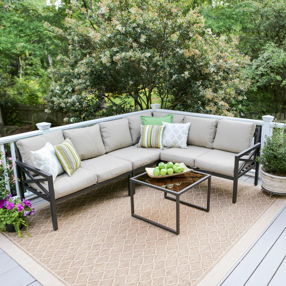Amazing Leisure Made Blakely Black 5 Piece Aluminum Outdoor Sectional With Tan  Cushions