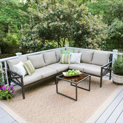 Blakely Black 5-Piece Aluminum Outdoor Sectional with Tan Cushions