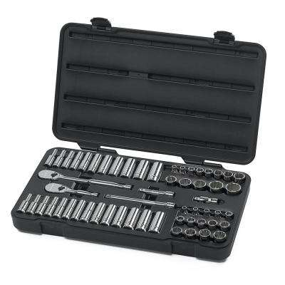 3/8 in. Drive 12-Point Ratchet and Socket Set (57-Piece)