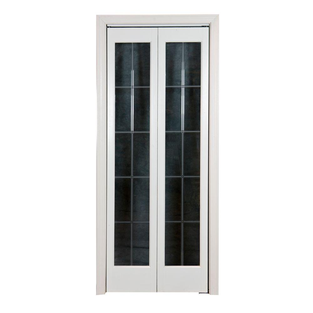 Optique Clear Full Lite Universal/Reversible Interior Wood Bi Fold Door 873526    The Home Depot