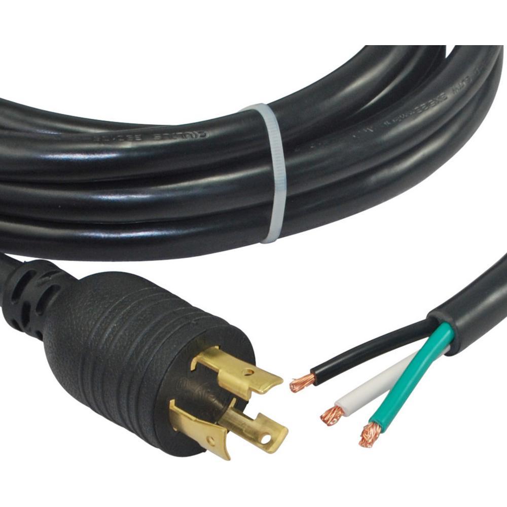 15 ft. 10/3 NEMA L6-30P 30 Amp 250-Volt Locking Power Cord to Hard Wire