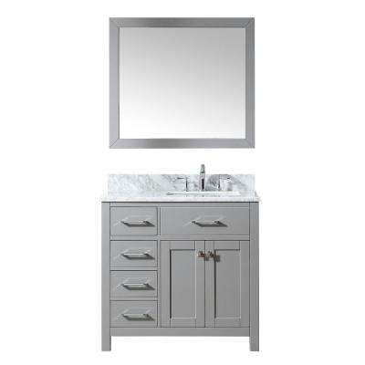 Caroline Parkway 36 in. W Bath Vanity in Cashmere Gray with Marble Vanity Top in White with Square Basin and Mirror