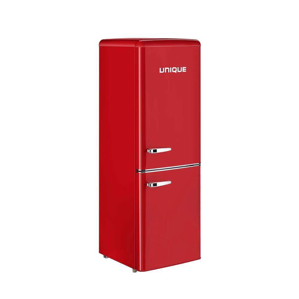Retro 21.6 in. 7 cu. Ft. Bottom Freezer Refrigerator in Red