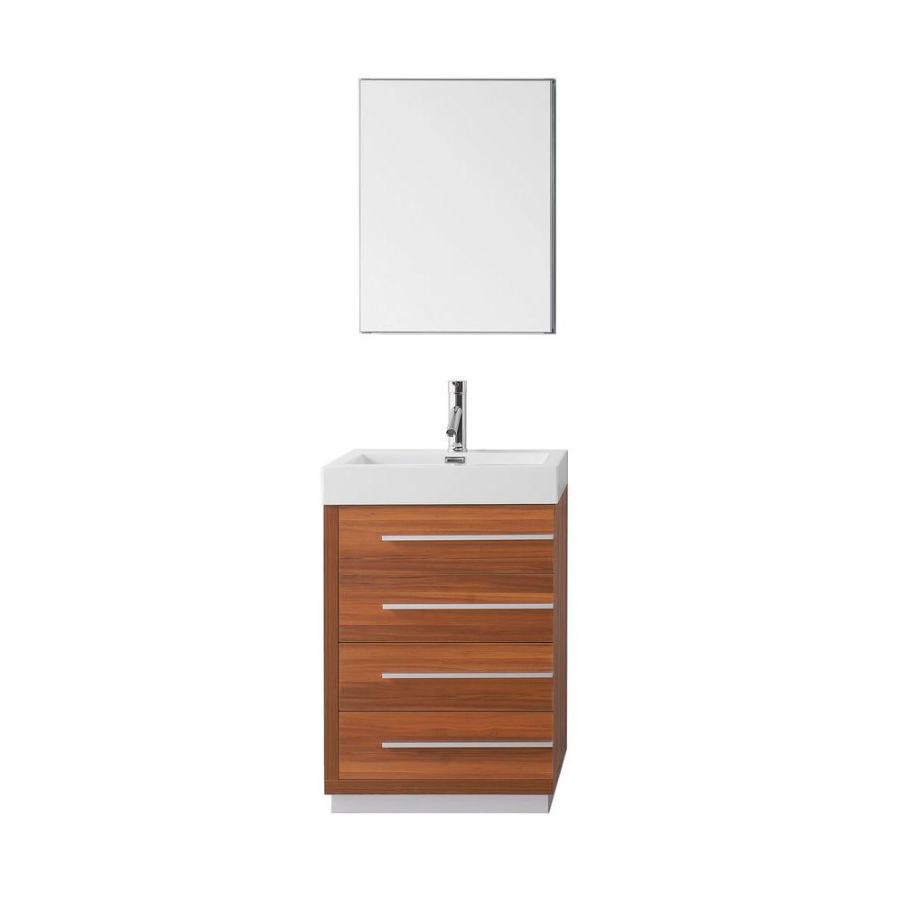 Virtu USA Bailey 23.62 in. W Vanity in Plum with Poly-Marble Vanity Top in White with White Basin and Mirror