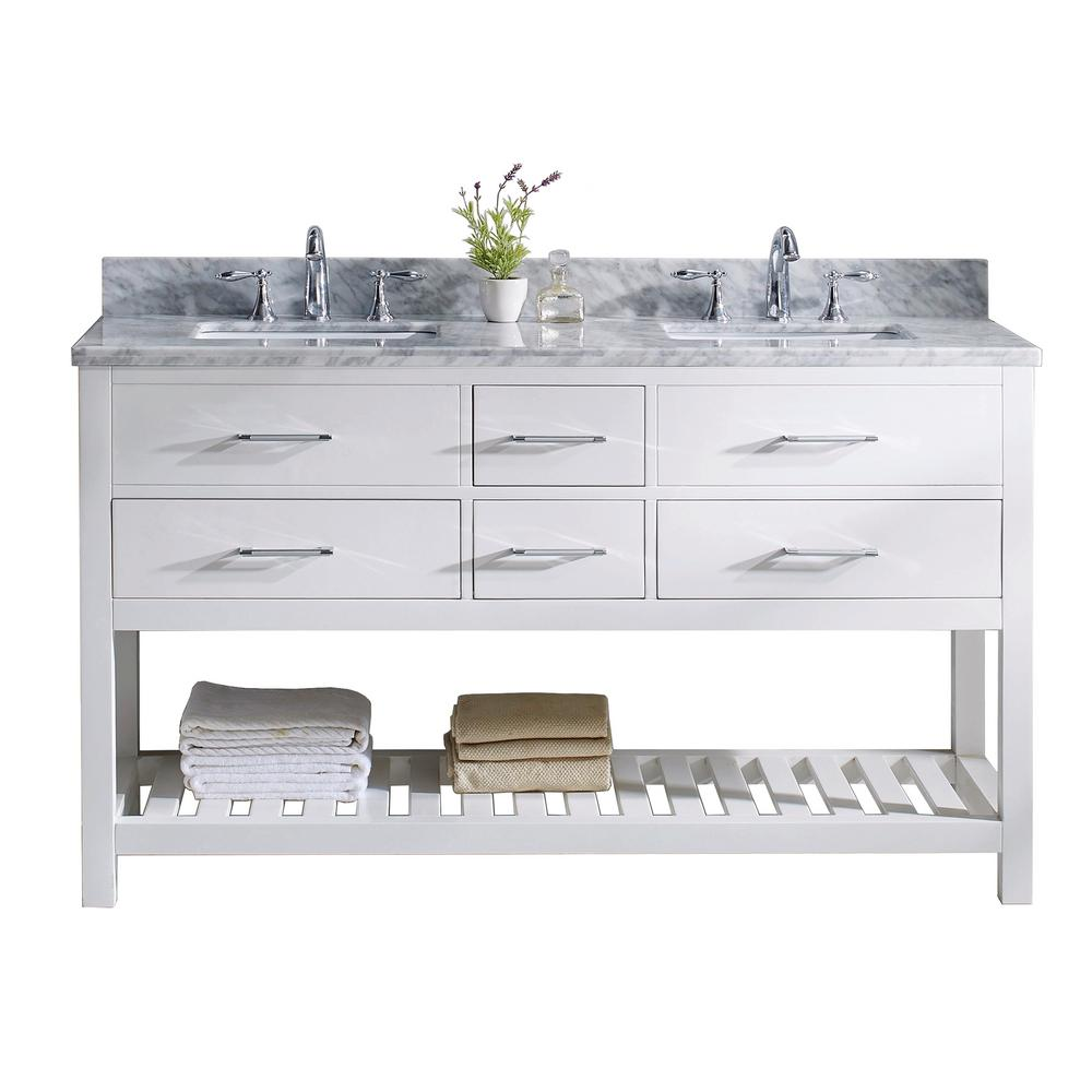 Double Vanity White Marble Vanity Top White Basin