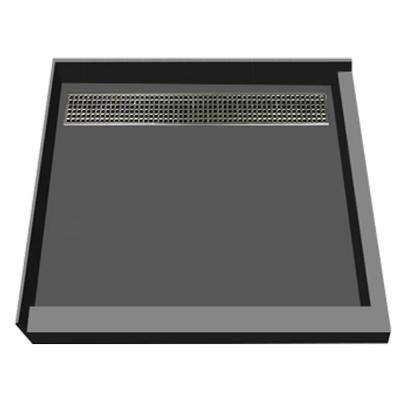 48 in. x 48 in. Double Threshold Shower Base with Back Drain in Gray and Brushed Nickel Trench Grate