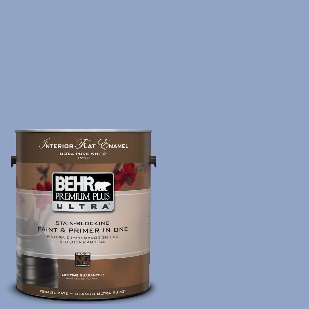 BEHR Premium Plus Ultra 1-Gal. #UL240-16 Blue Hydrangea Interior Flat Enamel Paint