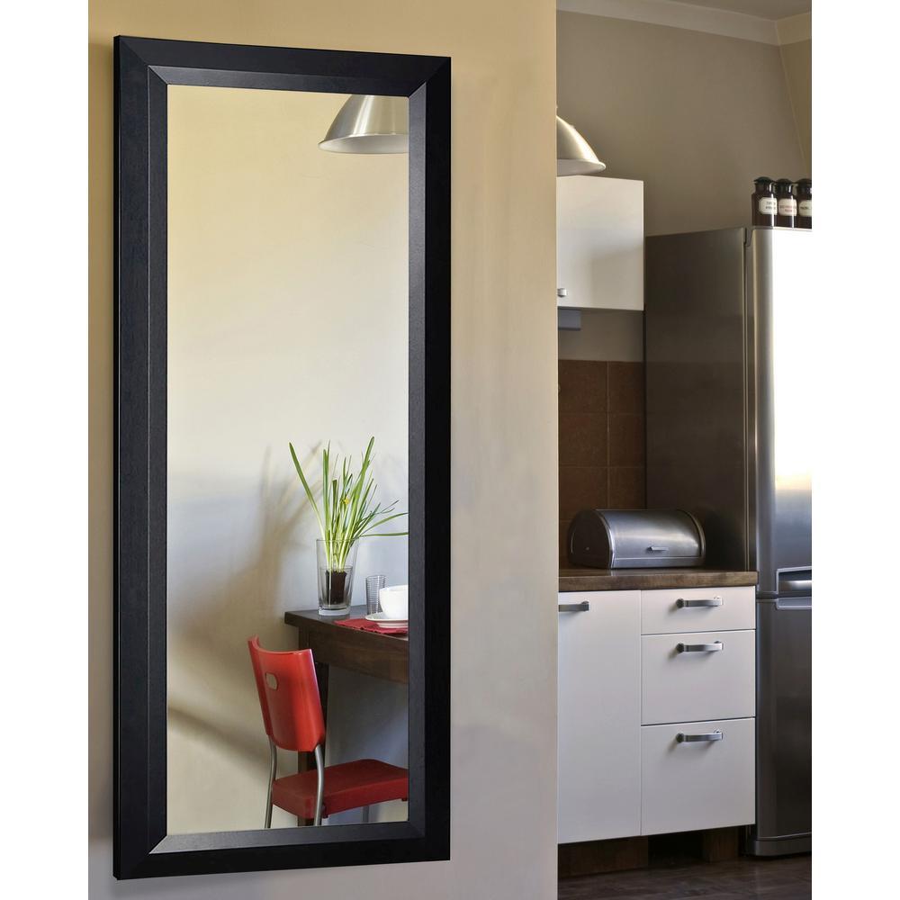 26 in. x 64 in. Vanity Solid Black Angle Non Beveled Full Body Mirror