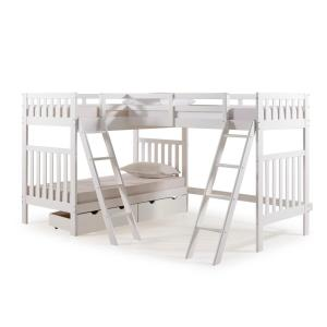 Aurora White Twin Over Twin Bunk Bed with Third Bunk Extension and Storage Drawers