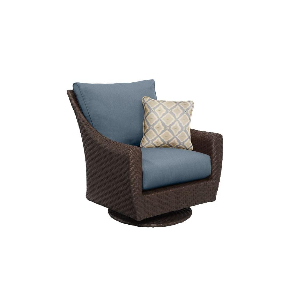 Brown Jordan Highland Patio Motion Lounge Chair in Denim with Bazaar Throw Pillow -- CUSTOM