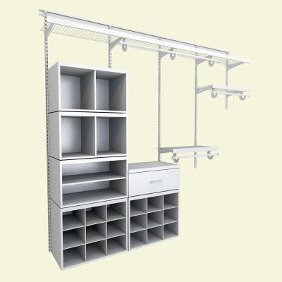 Merveilleux ClosetMaid Elite 96 In. H X 96 In. W X 14.1 In. D 52 Piece Wire And  Laminate Closet System In White