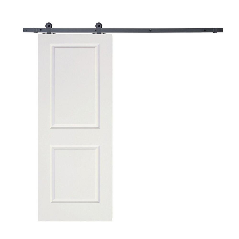 CALHOME Top Mount Sliding Door Track Hardware And White Primed MDF Raised 2 Panel  Interior Door