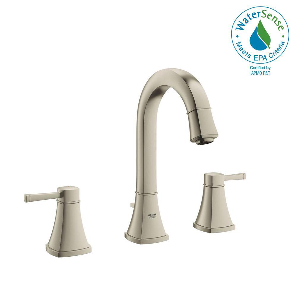 Grandera 8 in. Widespread 2-Handle 1.2 GPM Bathroom Faucet in Brushed Nickel InfinityFinish