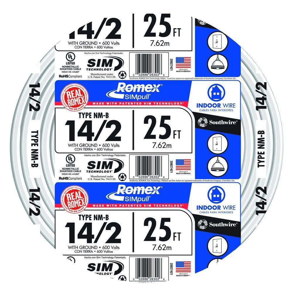 25 ft. 14/2 Solid Romex SIMpull CU NM-B W/G Wire