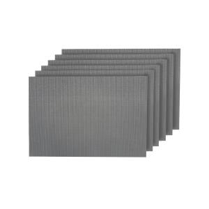 Natural Shimmer Silver Woven Textilene Reversible Rectangle Placemats (Set of 6)